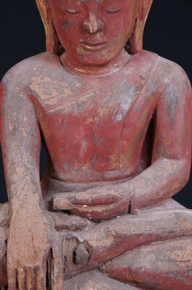 14-15th century Late Pagan Buddha from Burma made from Wood