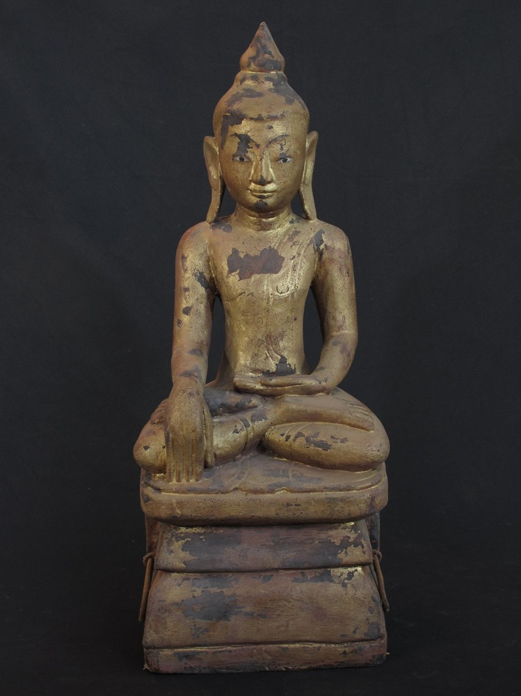 18th century burmese buddha from burma made from wood. Black Bedroom Furniture Sets. Home Design Ideas
