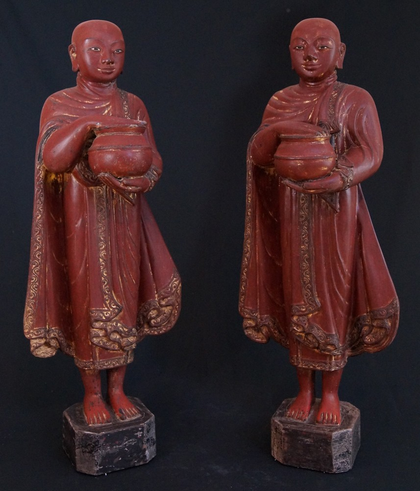 Pair of antique monk statues from Burma