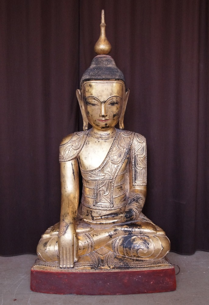 Antique Shan Buddha with Naga from Burma made from lacquer