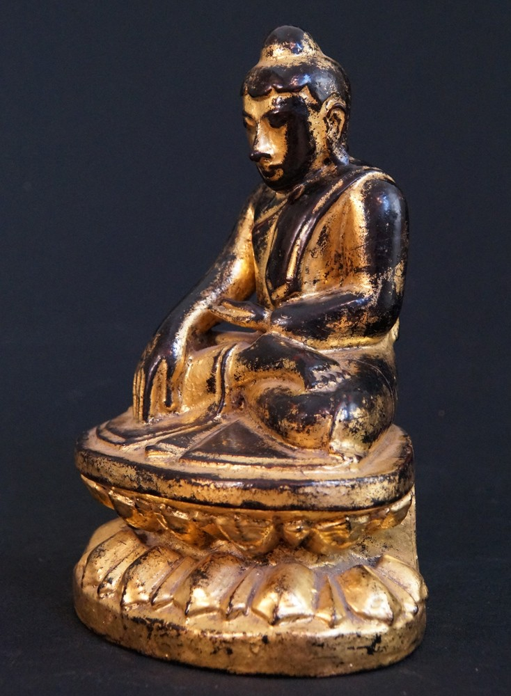 Antique Lotus Buddha from Burma made from Wood