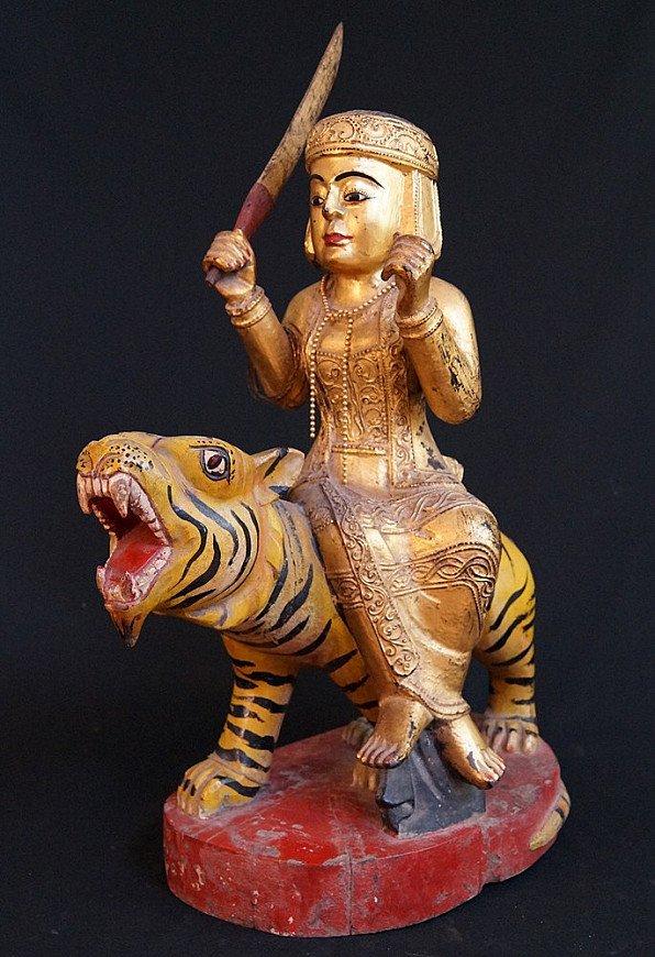 Antique Burmese Nat on tiger