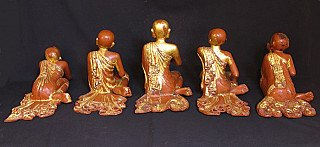 Set of old wooden monks