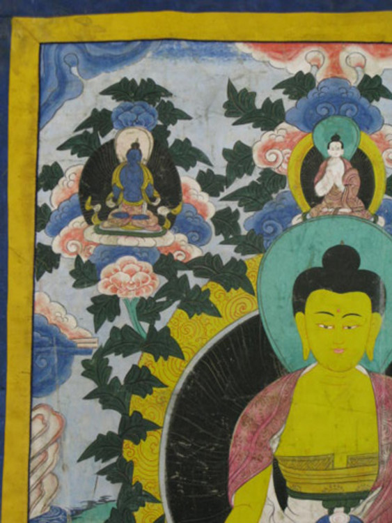 Old Buddha Thangka from Nepal made from