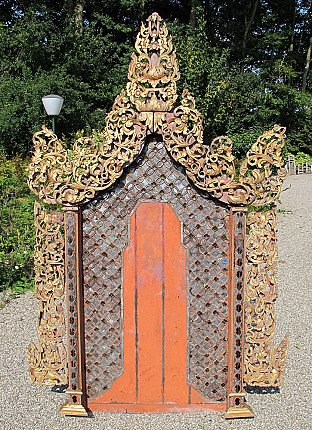 Antique Shan wall panel / throne backside