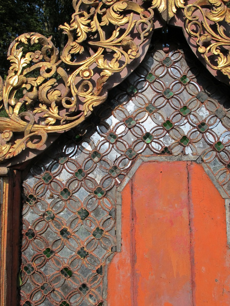 Antique Shan wall panel / throne backside from Burma made from Wood