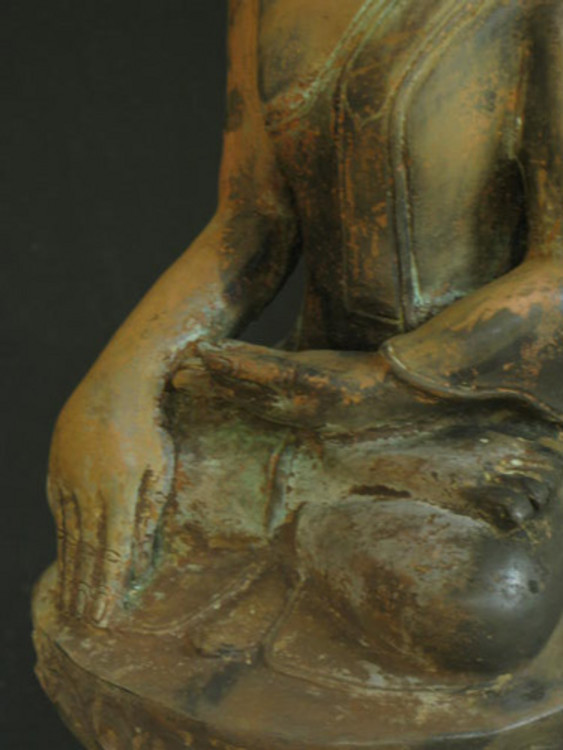 Old sitting Buddha from Burma made from Bronze