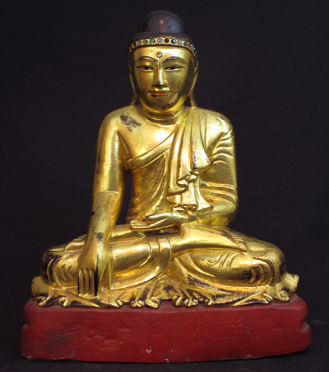Antique sitting Buddha from Burma made from Limestone