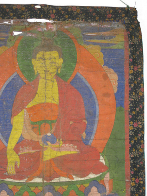 Antique Buddha Thangka from Nepal made from