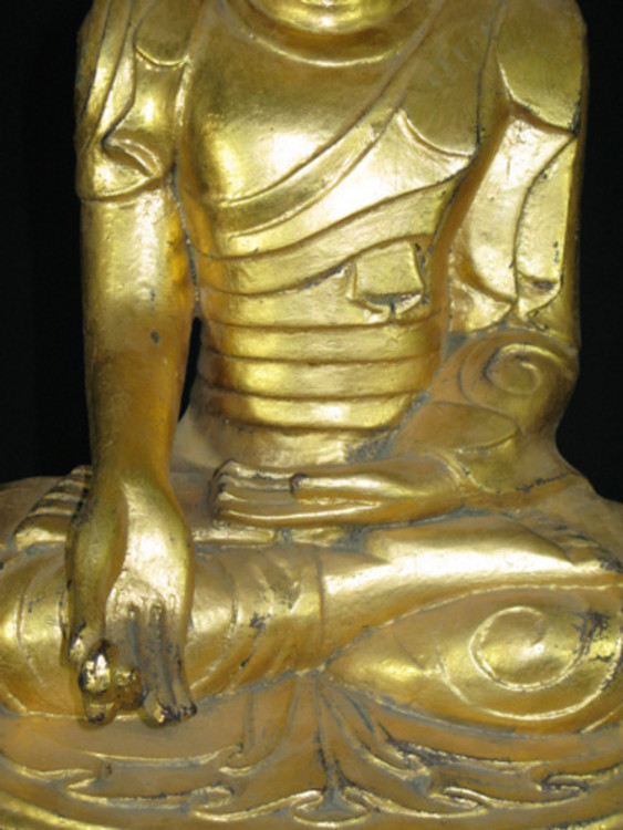 Old sitting Buddha from Burma made from Wood