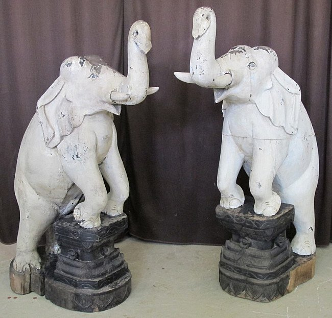 Pair of antique elephants