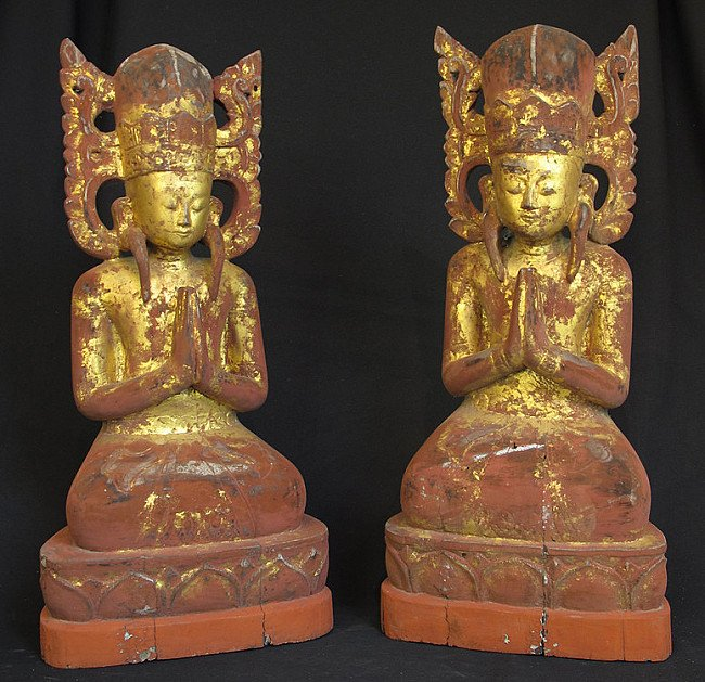 Antique crowned monks