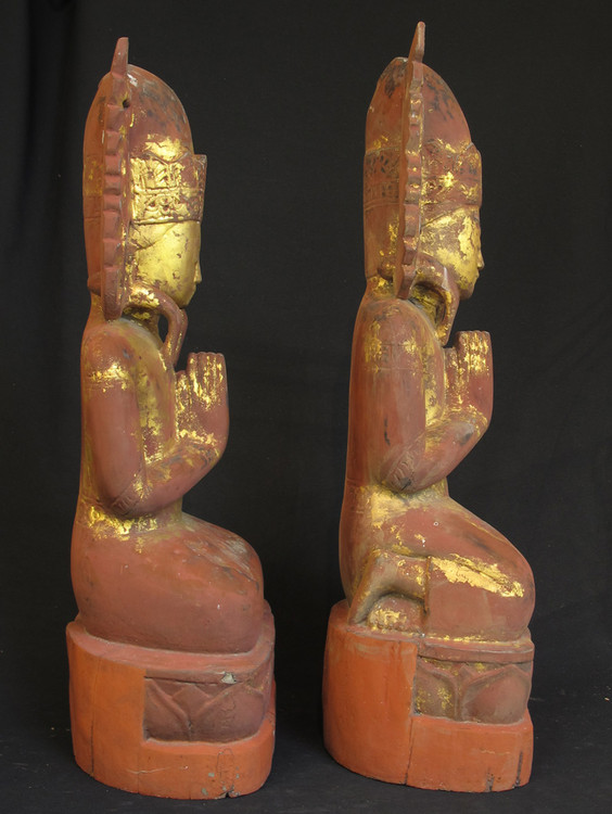 Antique crowned monks from Burma made from Wood