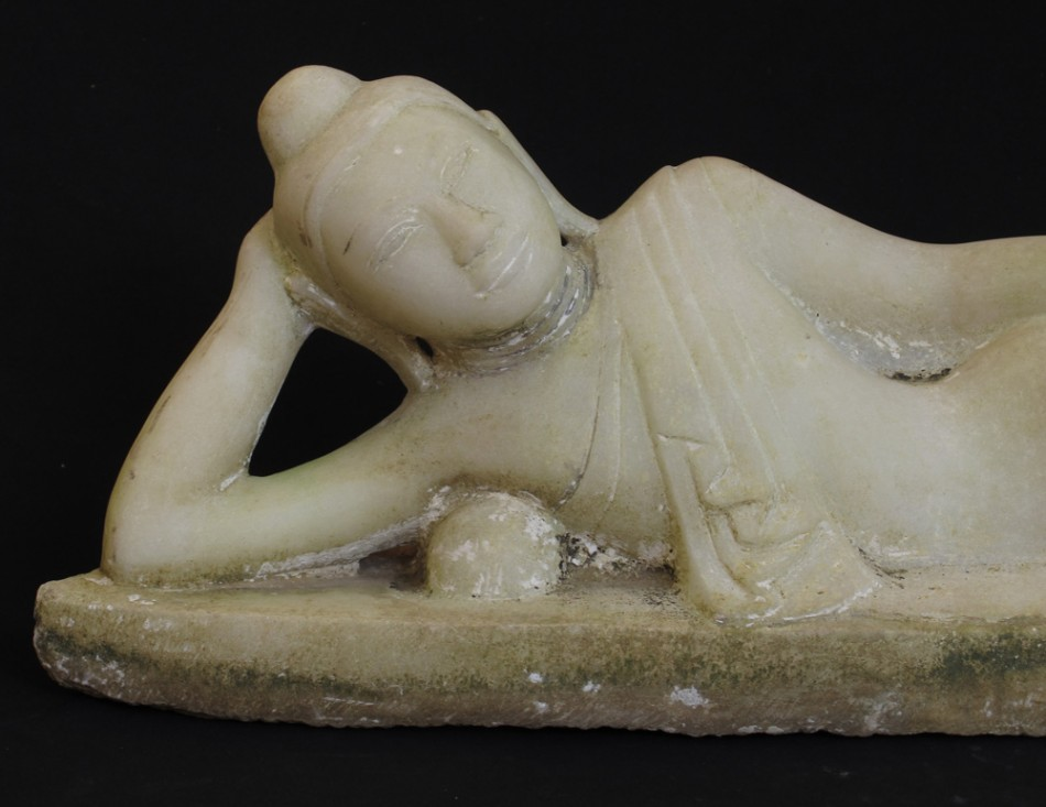 19th century reclining Buddha from Burma made from Marble