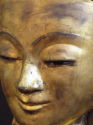 Oud lakwerk Boeddha hoofd